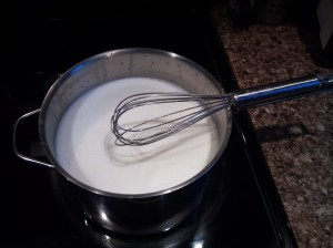 milk on the stove