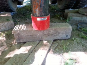 The first steel casing, with a drive shoe, in case the drilling hits a boulder.